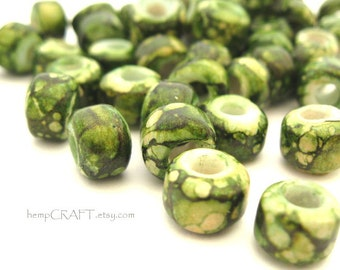Crow Beads, Olive Green Glass Pony Beads - 50pcs - 9mm