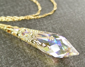 Gold Clear Crystal Necklace 14K Gold Fill Chain Clear Swarovski Crystal Pendant Necklace April Birthstone Aurora Borealis Gold Necklace