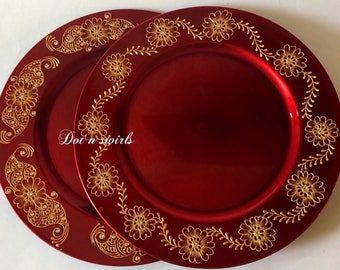 """13"""" set of 2,henna decorated charger plate/wedding centerpiece/pooja thali/mehndi plate/henna party/wedding decorations"""