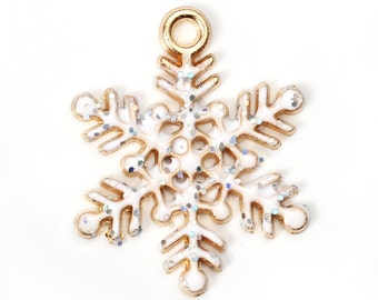 2 pcs. Rose Gold Plated Glitter Snowflake Winter Christmas Enamel Charms Pendants - 21x17mm