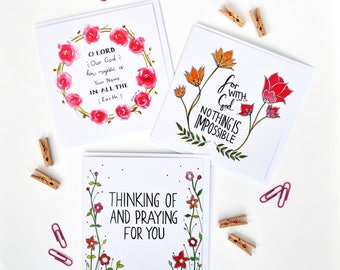 Scripture Art Cards - Set of 3 - Greeting Cards - Christian Gifts