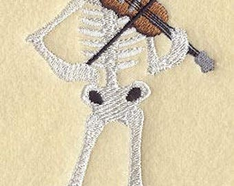 DAY of the DEAD SKELETON Dia De Los Muertos Sombrero and Violin Machine Embroidered Quilt Square, Art Panel