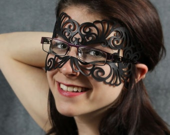 Coquette leather mask for eyeglasses