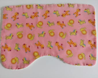 Burp Cloth, towelling backed burp cloth, baby burp cloth, shoulder cloth, pink burp cloth, lions, giraffes, zebras, baby girl, nursery gift
