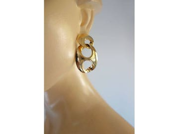 Gold Statement Oversized Earrings 80s Vintage Earrings Large Gold Earrings Geometric Earrings Interlock Earrings
