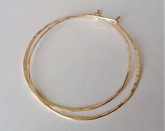 "2"" 14K Gold Filled Hoop Earrings, Large Hoop Earrings, Thin Gold Hoops, Rustic, Minimalist, Everyday, Gift for Mom, Bridal Shower Gift, Prom"