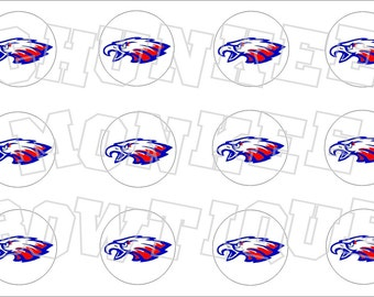 Eagle head red white blue bottlecap image sheet -  high school mascot