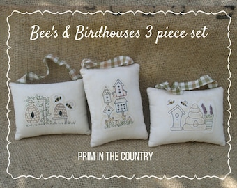 Bees and Birdhouses 3 Piece Set Pattern