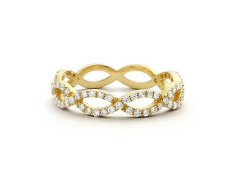 Infinity Ring/ Diamond Infinity Ring/ Micro Pave Infinity Twist Ring in 14k Gold  White Diamonds/ Infinity Wedding Band / mothers day gift