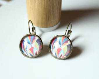 multicolored pattern cabochon earrings