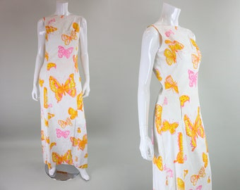 1960's Maxi Dress with Butterfly Screenprint