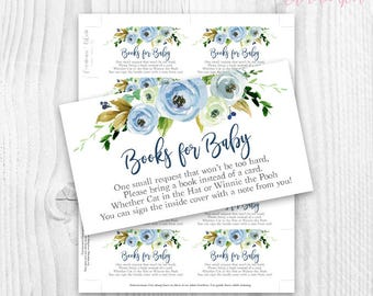 Floral baby Shower boy book cards, blue watercolor floral, please bring a book floral card, rustic baby shower book cards, books for baby