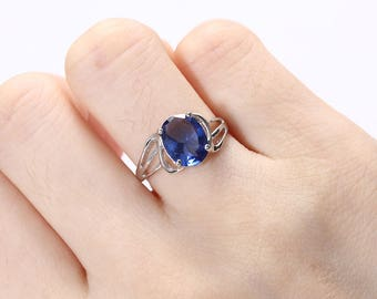 Sapphire engagement ring white gold Unique Oval engagement ring women wedding Bridal set Jewelry Alternative Promise Anniversary gift