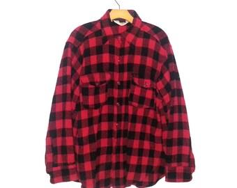 Vintage Woolrich Red Black Plaid Lumberjack Shirt Jacket Large