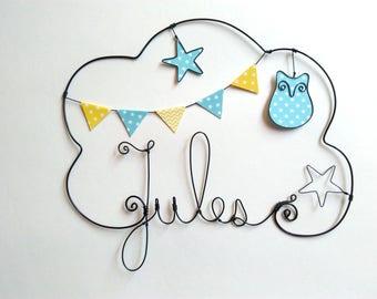 "Wire name customizable cloud ""OWL among the stars"" nursery wall decor"