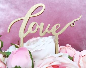 Laser Cut Love Script Cake Topper, Rustic Cake Topper,Love Cake Topper, Wedding Cake Topper, Rose Gold Cake Topper, Silver cake topper