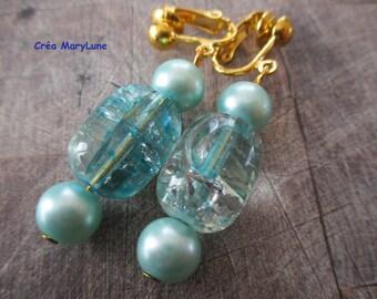 Clip earrings for non-pierced ears turquoise