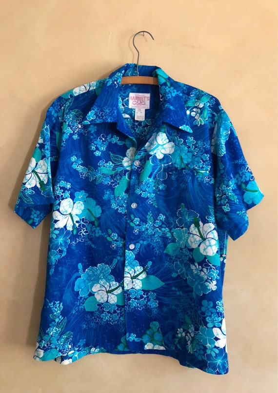 Vintage - Blue Hawaii 70's Hawaain Shirt - Never Worn - large - made in Hawaii - Custom made by Harriets -