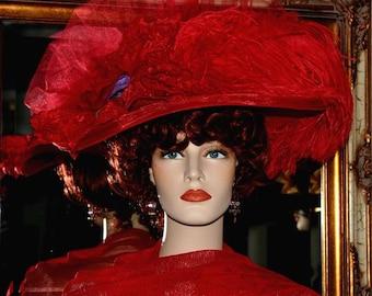 Edwardian Hat Downton Abbey Hat Kentucky Derby Hat - Miss Red Crystal Fairy