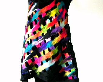 Felted Dress Tunic, Sleeveless, With Holes, Lattice, Black Multicolor, A Line, Size Large