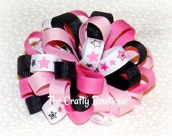 Rockstar Loopy Bow, Pink & Black Loopy Bow, Hot Pink Hair Bow, Small Rockstar Bow, Hot Pink and Black Bow, Black Loopy Bow, Small Loopy Bow