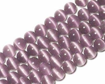 10 x beads 8mm purple cat's eye