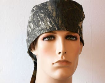 Mosey Oak Camoflage Mens Scrub Hat Traditional Tie Back with a Lined Crown