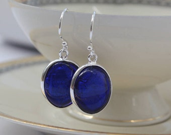 Cobalt Blue Earrings - Murano Glass Earrings, Blue Dangle Earrings, Blue Drop Earrings, Anniversary Gift, Birthday gift for Her, 40th gift