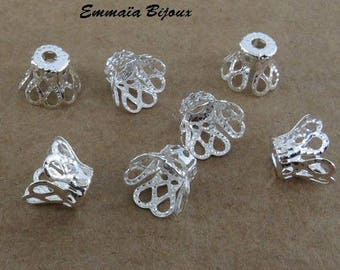 20 bead caps filigree silver-plated 7x5mm
