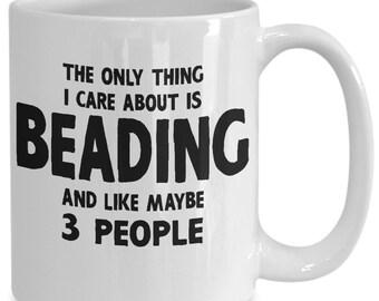 Gift For Beader - Beaders Gift - Beaders Gifts - Beading Gift - Gift For Beaders - Beading Mug Craft Hobby Coffee Tea Cup White Ceramic 15oz