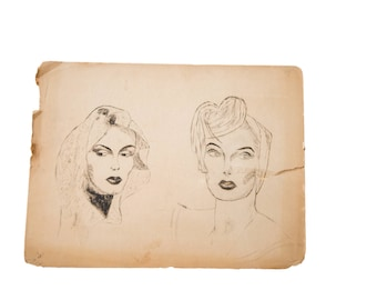 Vintage 1930's Glamour Charcoal Drawing
