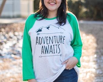 Adventure Awaits Raglan - Mountain Adventures - Mountain Trip - Vacation shirt - Plus size