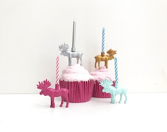 Silver Gold Pink Blue Reindeer Candle Holder Cake Topper / Reindeer Animal Birthday Party Decor / Animal Party Decor / Cupcake Decoration