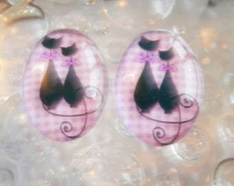 2 cabochons glass 25mm x 18mm purple cat theme