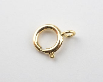 6mm 14k Gold Filled Spring Ring Clasps Closed, Made in Italy