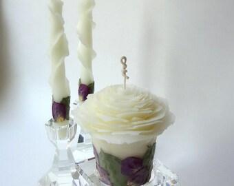 Purple Unity Candle, Beeswax Rose Candles, Purple Wedding Decor, Romantic Wedding Unity Candle Set, Custom Unity Candle Pillar & Tapers