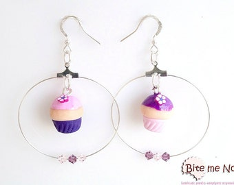 Violet Cupcakes Earrings, Cupcakes Hoops, Cupcake Jewelry, Cake Earrings, Food Jewelry, Kawaii Jewelry