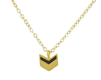 Black and Silver Chevron Arrow Gold Necklace // Modern, Simple, Geometric Chevron Pendant hung on Gold Chain
