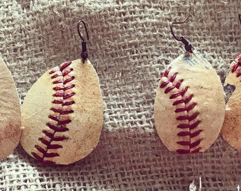 Baseball earrings/ real baseball/Sports Gift/Earrings/ baseball earrings // teardrop Earrings/ baseball accessories