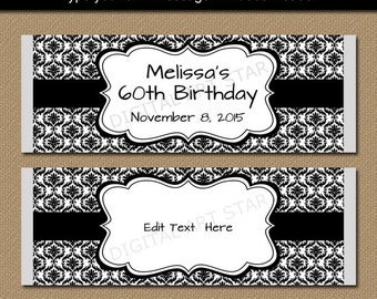 Black and White Candy Wrappers - Large Damask Chocolate Bar Wrappers - Printable EDITABLE Bridal Candy Labels - Birthday Party Favors