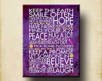 Keep the Faith Relay for Life - 16x20 Gallery Mounted Canvas WORD ART PRINT - Motivational Hope Healing Purple