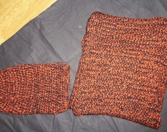 Set hat and Snood rust and black
