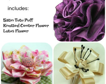 Huge Sale ... Mixed Fabric Flowers Tutorial 3 ... includes 3 flower tutorials
