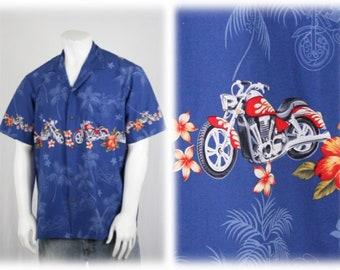 Vintage Motorcycle Hawaiian Cotton Shirt Royal Creations XL