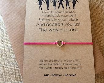 Wish String Friendship Bracelet - Heart Charm - A Friend is somene who....