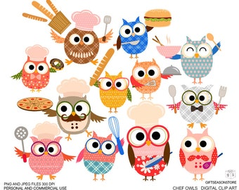 Chef owls Digital clip art for Personal and Commercial use - INSTANT DOWNLOAD