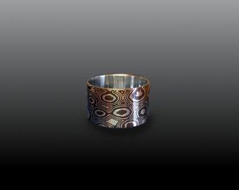 12mm Ring Mokume Gane Ring mokume Ring Mokume Wedding Band mokume ring band mokume wedding ring cigar band wedding band woodgrain ring