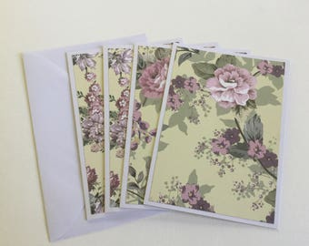 Flower cards, pretty gift cards, purple stationery, thank you cards, greeting cards, any occasion, birthday cards, floral cards, note cards