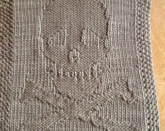 Knit  Skull & Crossbones dishcloth/washcloth