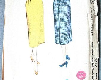 1950s Wrap Skirt Vintage Sewing Pattern McCall's 3277 Wrapped Skirt Wrap Around Skirt   Waist 23